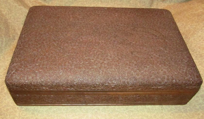 Old or Antique Anglo Indian Hand Carved Teak Wood Dresser Box India