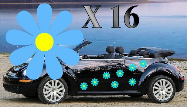 NEW 32,YELLOW DAISY FLOWER VINYL CAR DECALS,STICKERS