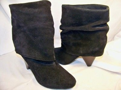 Womens Shoes NEW STEVE MADDEN Fold Black Suede Boots 6 $149