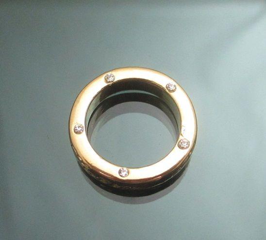 Vintage Gold GP I Love You Engraved Ring Clear Swarovski Crystals