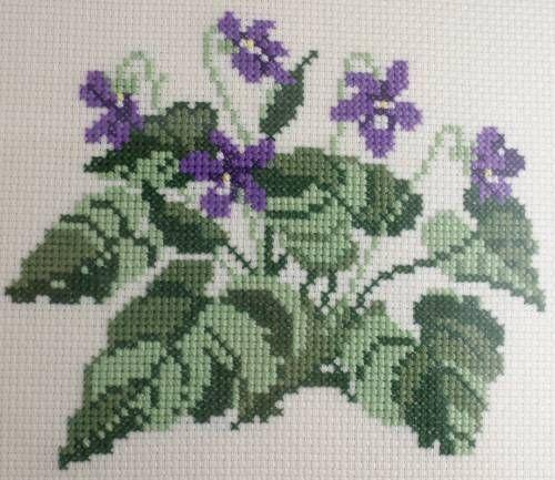 Vintage Violets Floral Needle Point Picture