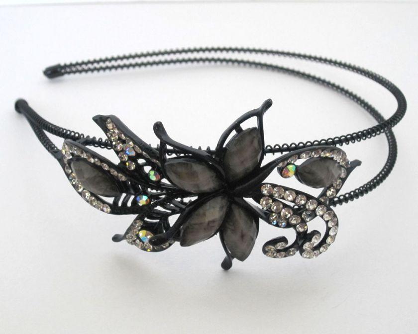 H218 Butterfly Flower Rhinestone Headbands Hair Band