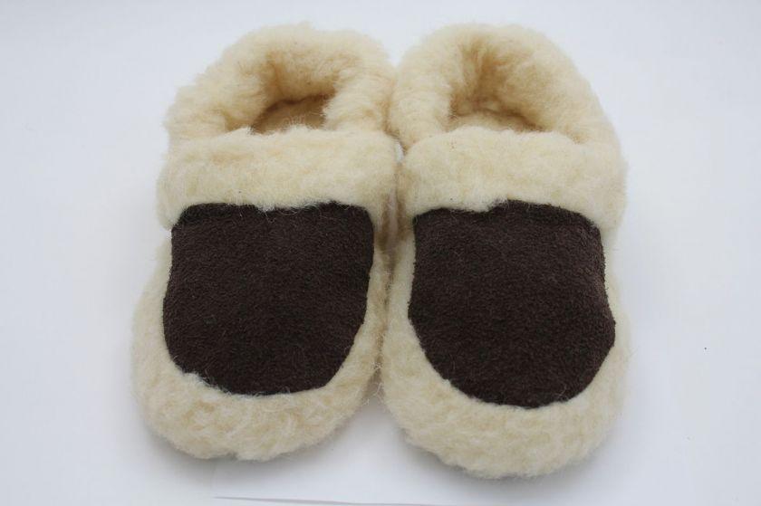Pure Merino Wool Slippers, Low Boot   Brown