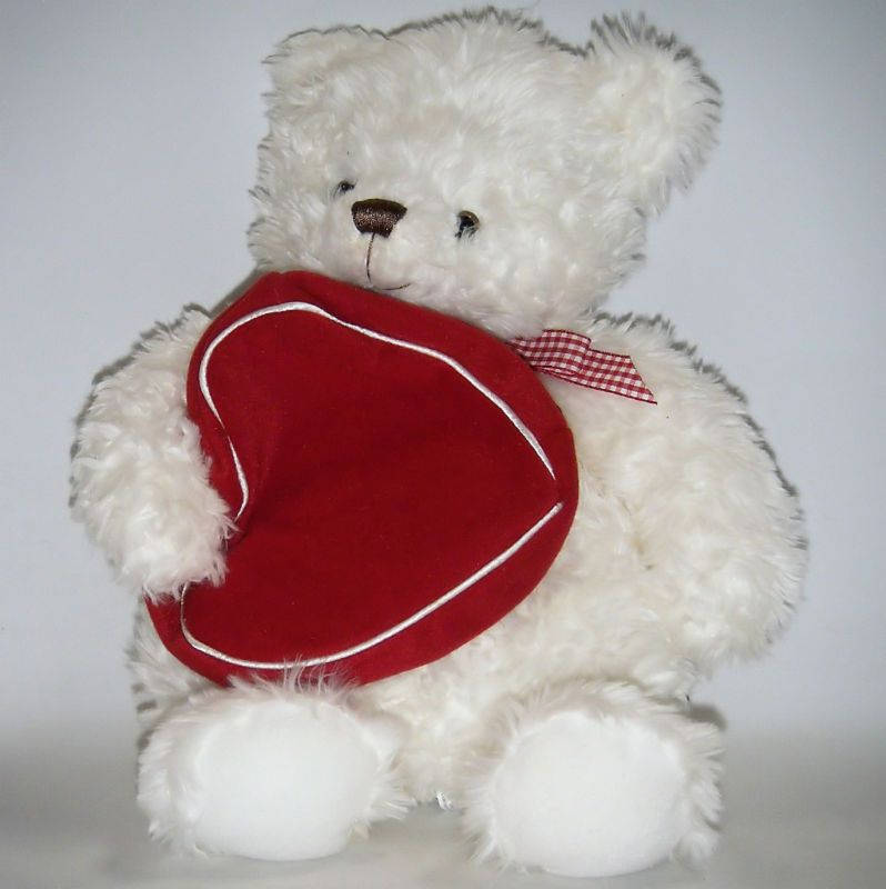 Hallmark White TEDDY BEAR Plush Valentines Day Red Velvet Heart Gift